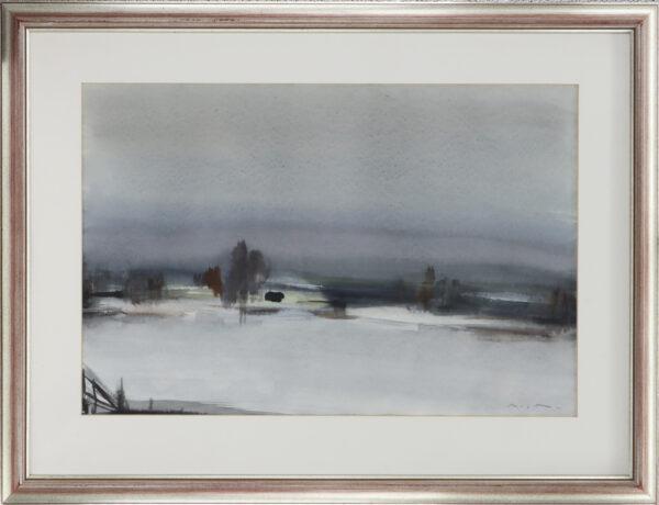 Nandor Mikola - Talvimaisema - Akvarelli