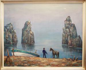Kaapo Rissala - Mies ja hevonen - Öljyvärimaalaus